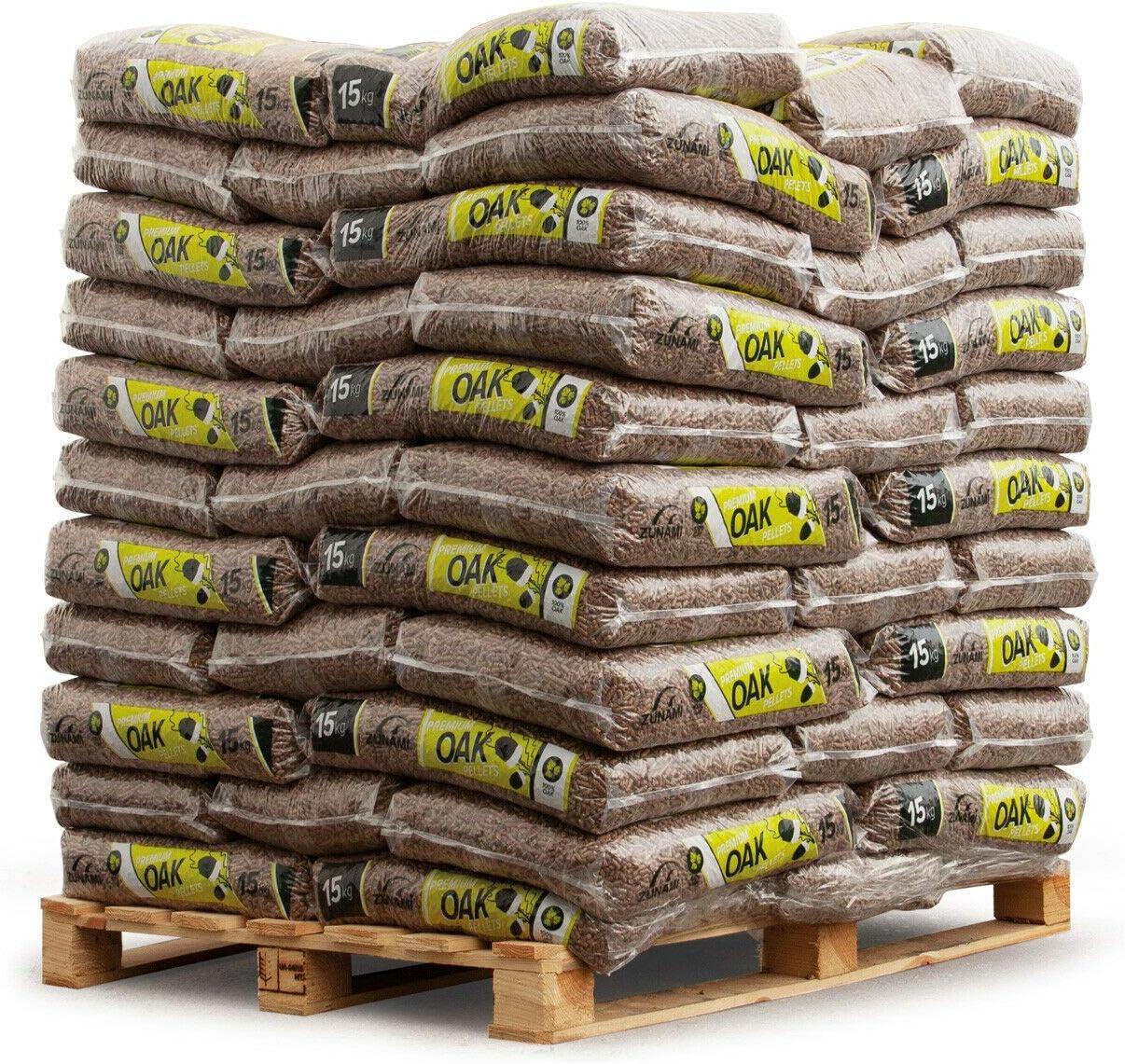 PALIGO Holzpellets Oak Heizpellets Hartholz Eiche Wood Pellet /Öko Energie Heizung Kessel Sackware 6mm 15kg x 65 Sack 975kg 1 Palette Zunami