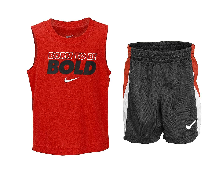 Anthracite Nike Toddler Boys Two Piece Born to be Bold Tank /& Mesh Shorts Set