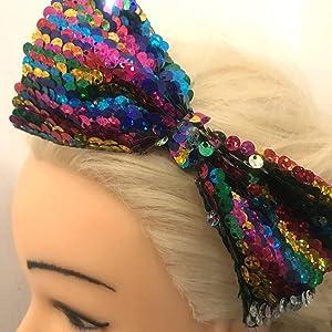 NEW MULTICOLOUR RAINBOW SEQUIN SPARKLE SIDE BOW SATIN ALICE HAIR HEAD BAND