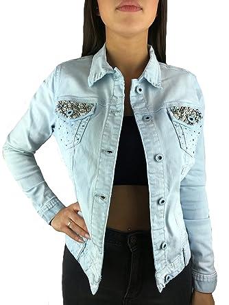 pretty nice 04a30 ba0b6 Worldclassca Damen Jeansjacke ÜBERGANGSJACKE Jeans Jacke DENIMWEAR Denim  MIT Strass Nieten Blogger VIELE Farben S-XXL