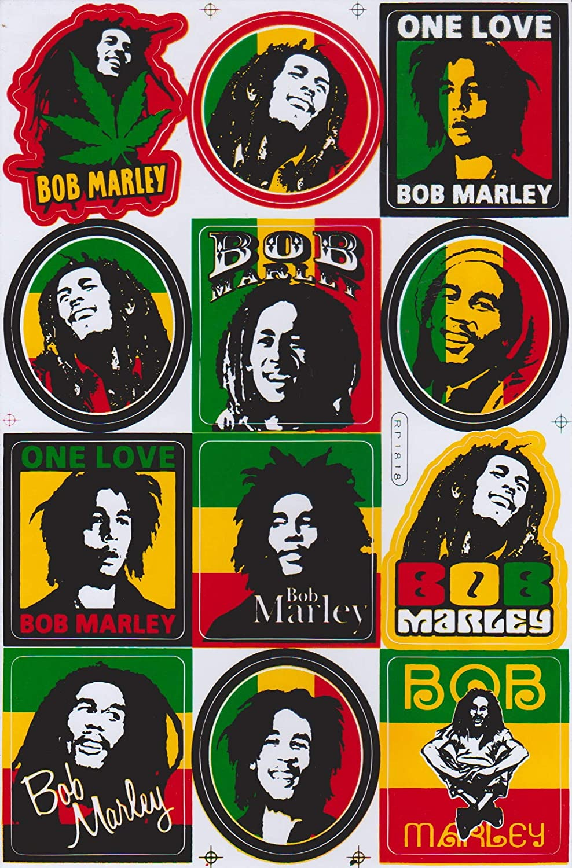 JAB Seller Vinilo Pegatina calcoman/ía Label Sticker Bob Marley Reggae Rasta Jamaica Marijuana Peace One Love Inrie Music m/úsica