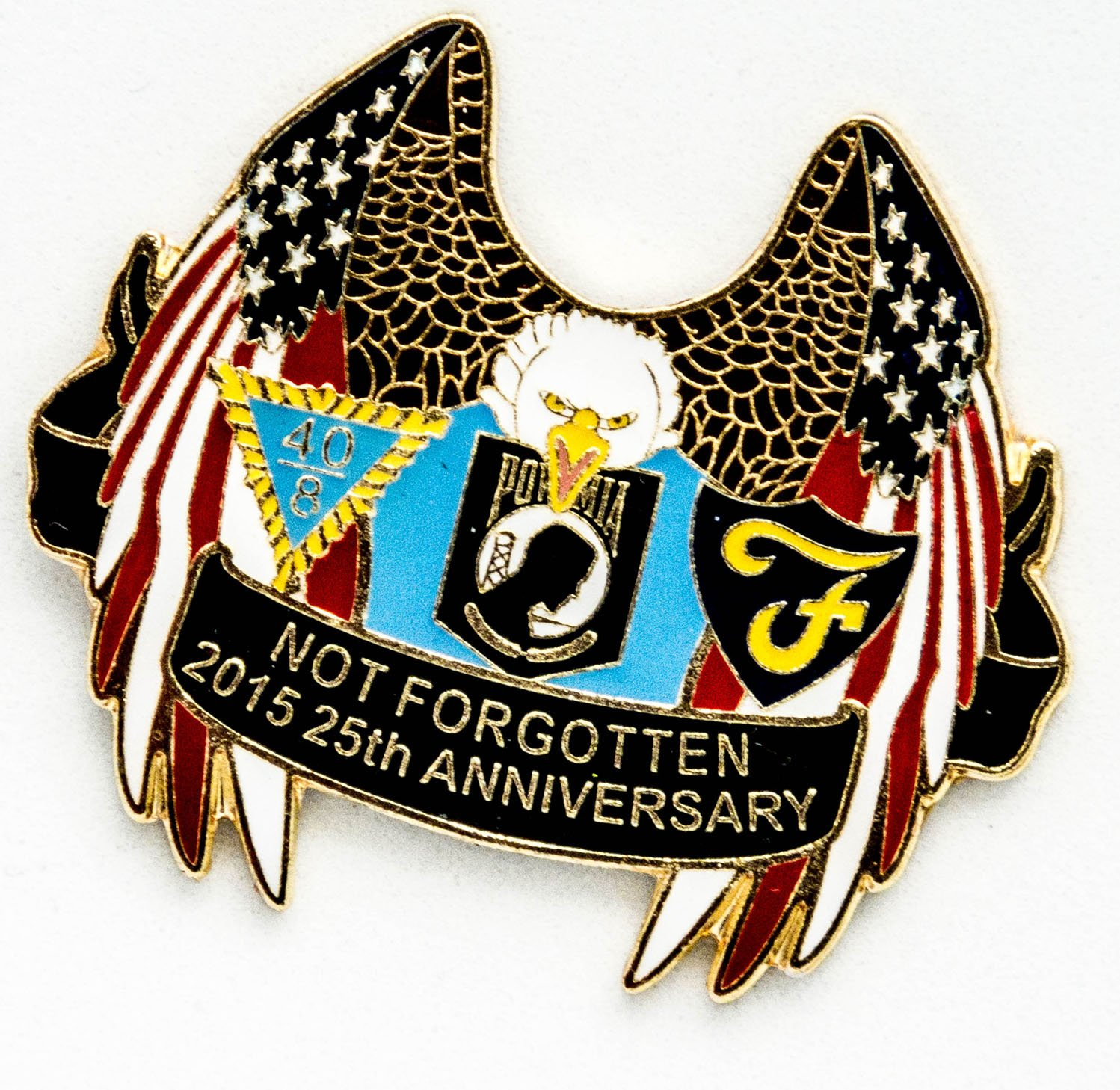 POW MIA Emblem Mint, Patriotic Gifts - USA POW MIA Lapel Pin or Hat Pin 25th Anniversary - Stocking Stuffers Christmas Gifts - Jewelry-Like Finish - Military Veterans, Army, Navy, Air Force, Marines