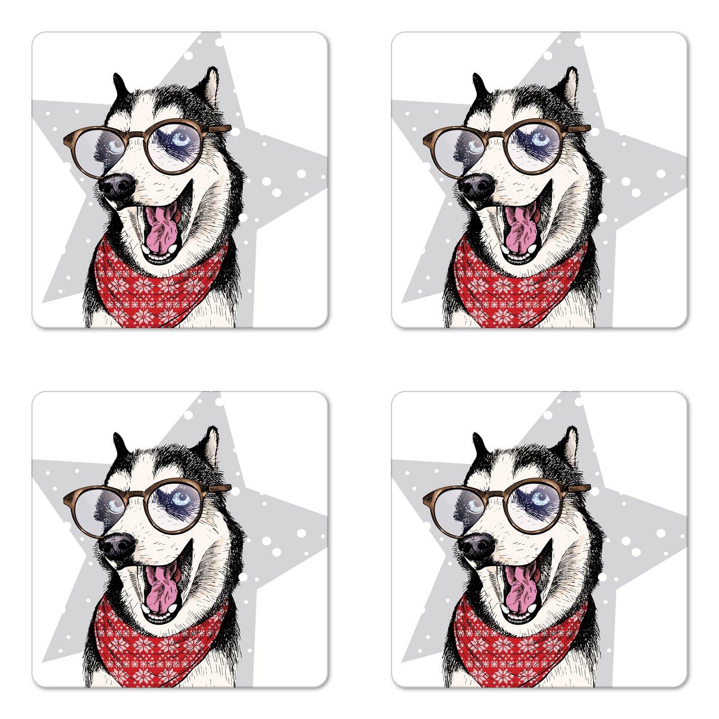 Lunarable Husky コースター4枚セット シベリア国産ハスキー犬 バンダナとメガネを着用 面白い ポーズで立ちます 四角いハードボードのグロスコースター ドリンク用 マルチカラー   B07DC415PT