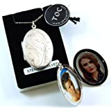 "The Olivia Collection Sterling Silver 38mm Oval Engraved Locket on 18"" Chain"