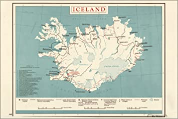 Amazoncom 24x36 Poster Cia Map Of Iceland 1958 Antique Reprint