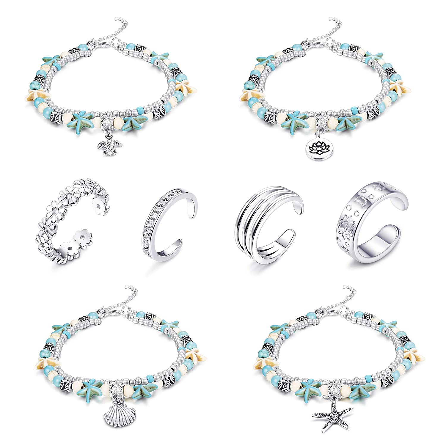 Milacolato-16PCS Women Anklet Elastic Crystal Toe Rings Set Women Girls Beach Ankle Chains Bracelets Set Anklet Foot Jewelry for Women