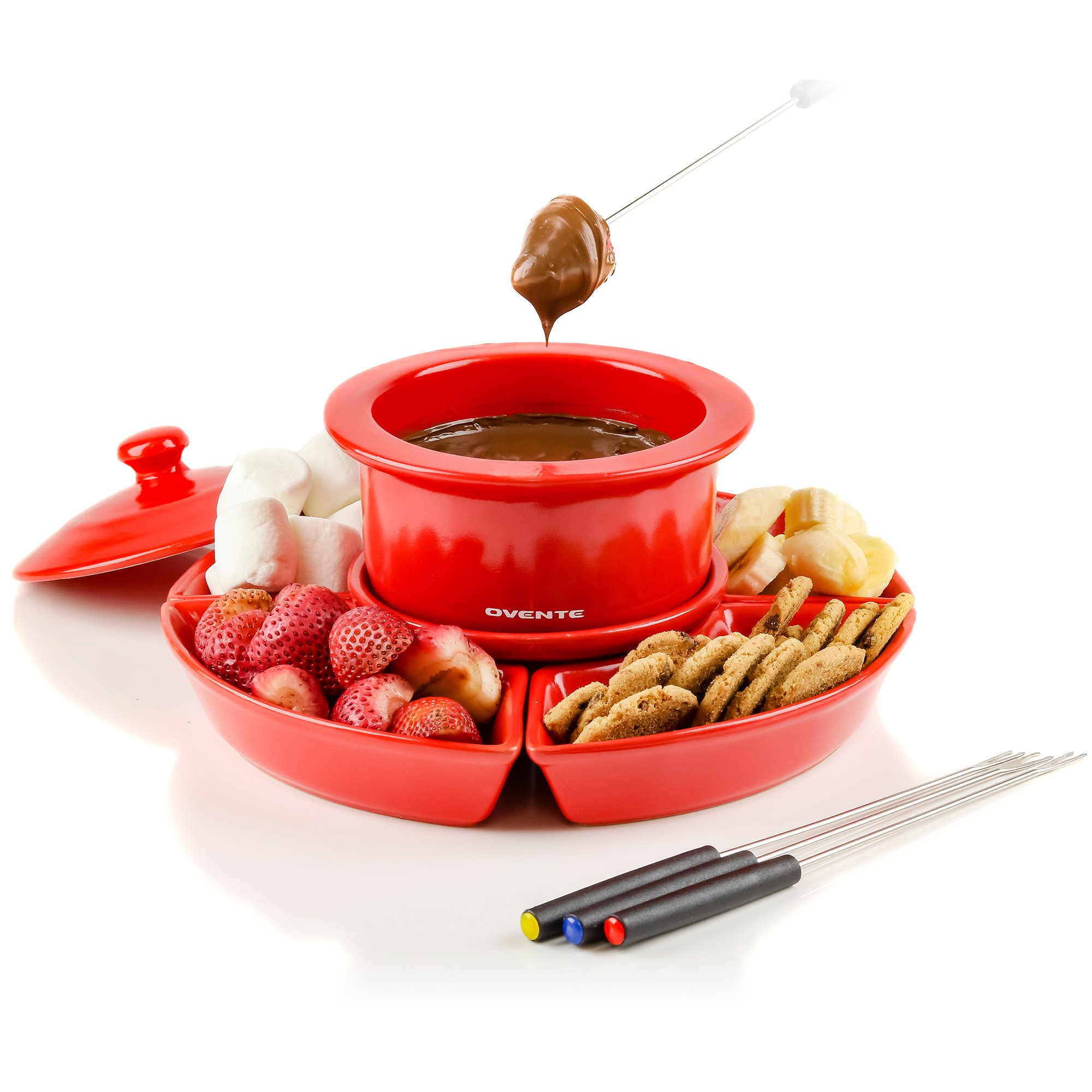 OVENTE CFC317R Electric Cheese/Chocolate Fondue Melting Pots and Warmer Set, 1 Liter, Red by OVENTE