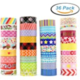 Washi Masking Tape Set of 36 Rolls, Decorative Masking Tape Collection, Colorful Tape Decorate for DIY Crafts, Festival Gift Wrapping ,Office Party Supplies, Christmas, Lamp, Cards, Scrapbook
