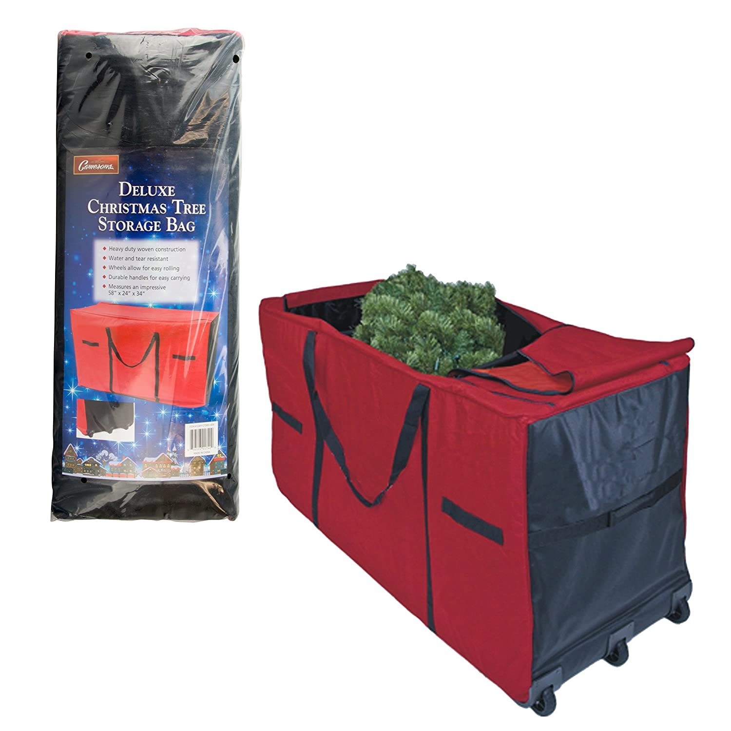 amazoncom christmas tree storage bag heavy duty 58x24x34 storage container with wheels home kitchen - Christmas Tree Bags Amazon