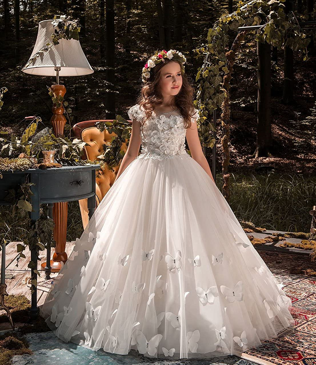 b50da6fc4 Amazon.com: Carat Crystal Beads Flower Girl Dresses White Vintage Kids Prom  Party Ball Gowns: Clothing