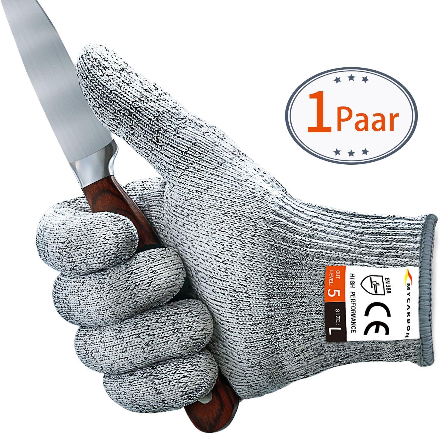 MYCARBON Paire de Gants Anti Coupures Gants de Cuisine Maniques R/ésistant Durable Anti-abraison et Homologu/é pour Aliment,Protection de Niveau 5 Conforme /à la Norme en 388 L/ég/ère Antid/érapant