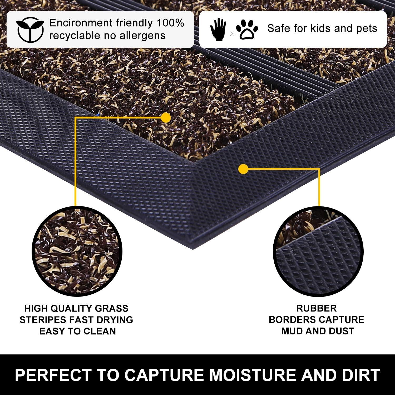 Striped Gray Indoor Outdoor Easy Clean Heavy Duty Doormat 29X17 Olanly Original Durable Striped Door Mat