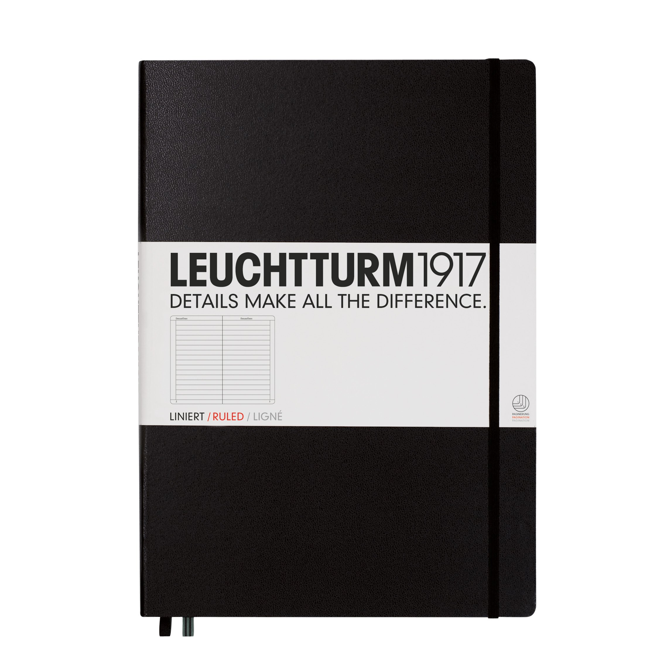 Leuchtturm1917 Master A4 Plus Ruled Hardcover Notebook- 233 Numbered Pages, Black by LEUCHTTURM1917