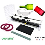 Creator's Glass Bottle Cutter Machine Kit - Pro Quality - Easy to Learn, Fun to Use - Includes Carbide Head, Ruler, Ball Bearing Rollers, Safety Glasses - Craft Beer/Liquor/Wine Bottles - Made in USA
