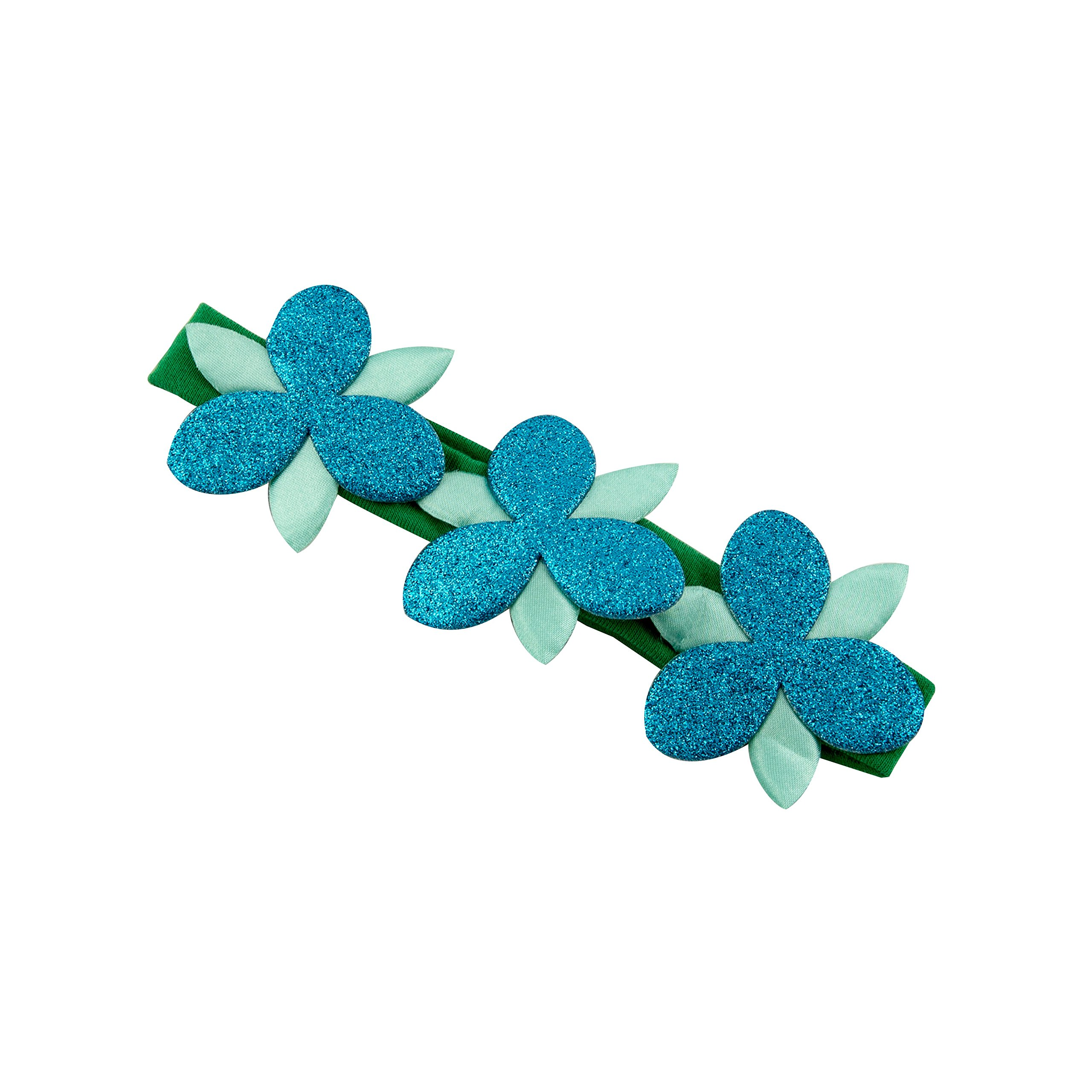 Goody Girls Trolls Poppy Flower Sparkle Headwrap Green with Blue Flowers (Pack of 3)