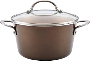 Ayesha Curry Home Collection Nonstick Sauce Pan/Saucepan with Lid, 4.5 Quart, Brown