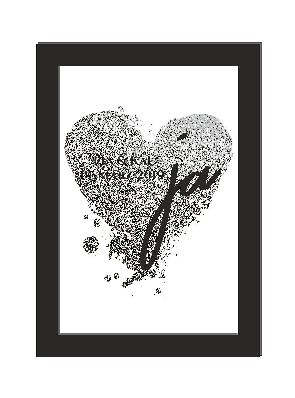 wahlweise mit Bilderrahmen Personalisiertes Wandbild//l/äuft//Hochzeit//Geschenk Jahrestag//Silberhochzeit//DIN A4