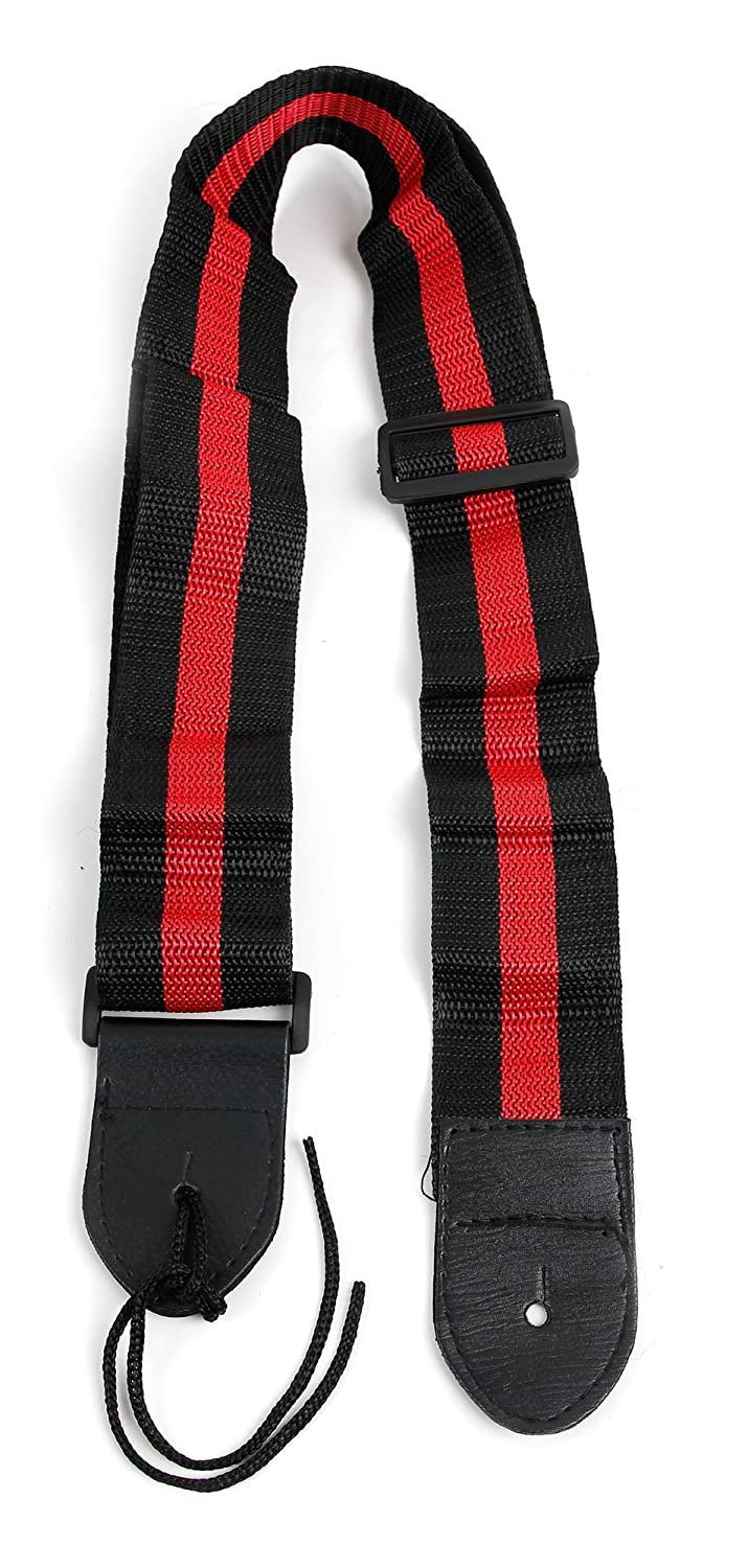 Black & Red Stripe Guitar Controller Strap For Guitar Hero & Rock Band Guitars On PS3, PS2, Xbox 360 & Wii (Compatible With Guitar Hero: Warriors of Rock, 6, 5, 4, 3, 2 & 1) Bray Music