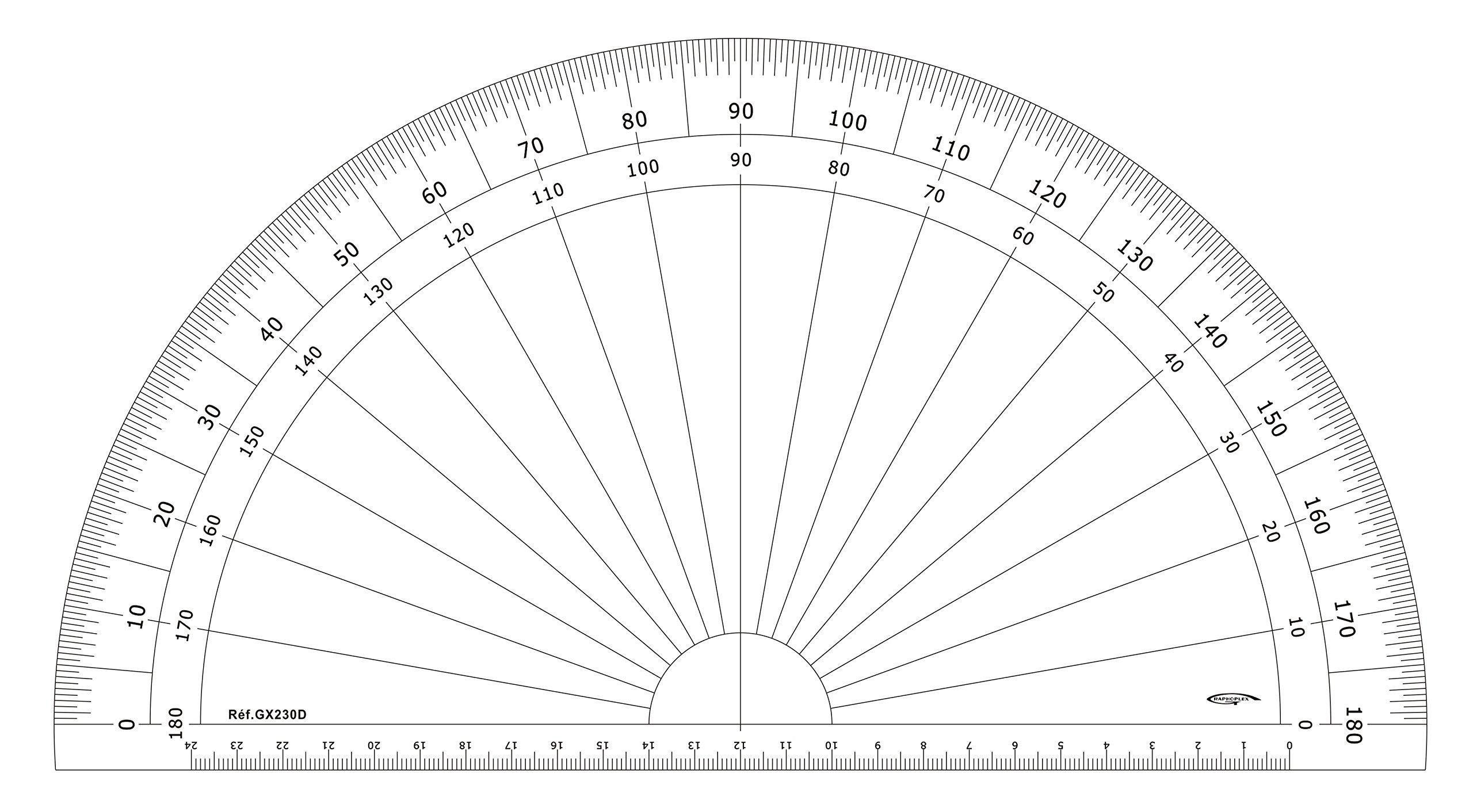 Graphoplex GX230D Transparent 1/2 Circle Protractor