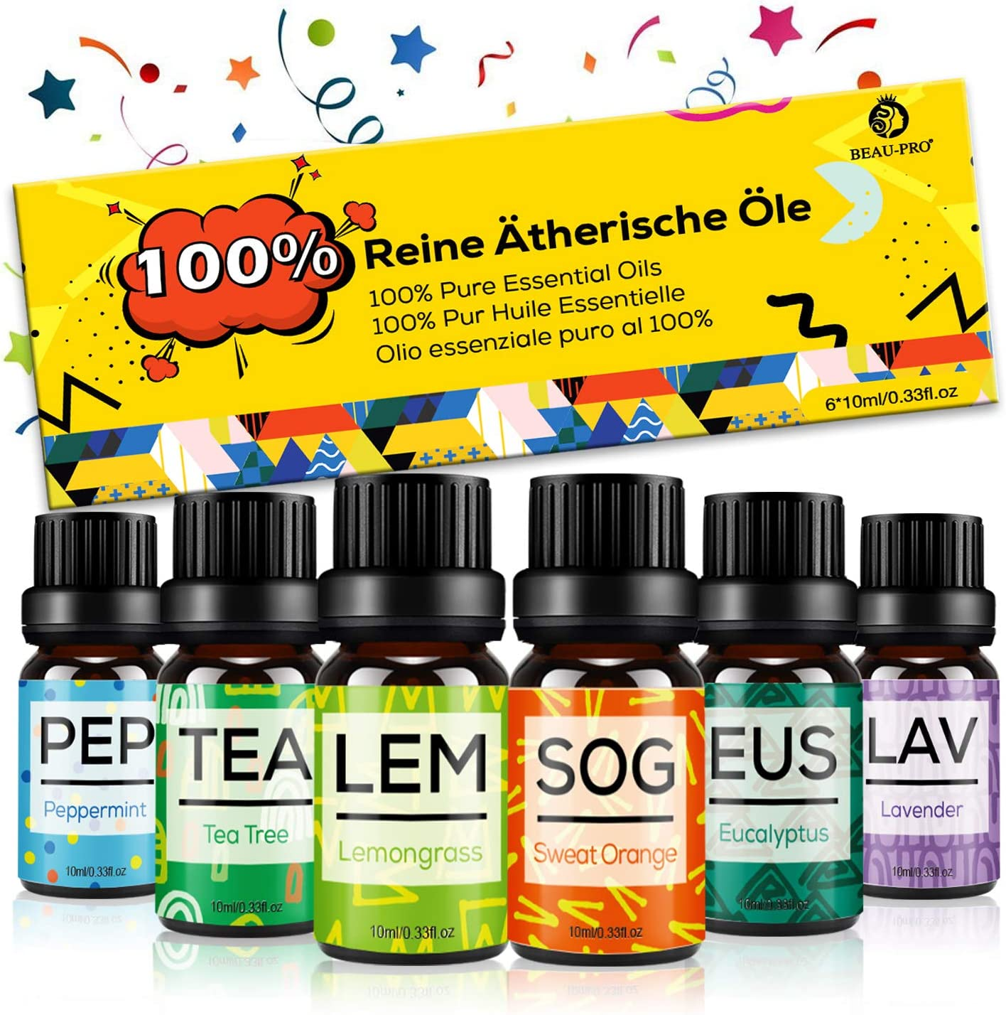 Set de Aceites Esenciales para Difusor,100% Natural Puro Aromaterapia Aceite Aromático,6 x 10 ml Essential Oils Set para Humidificadores, Lámparas de Fragancia,Jabón,SPA,Masaje