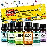 Set de Aceites Esenciales para Difusor,100% Natural Puro Aromaterapia Aceite Aromático,6 x 10 ml Essential Oils Set para…