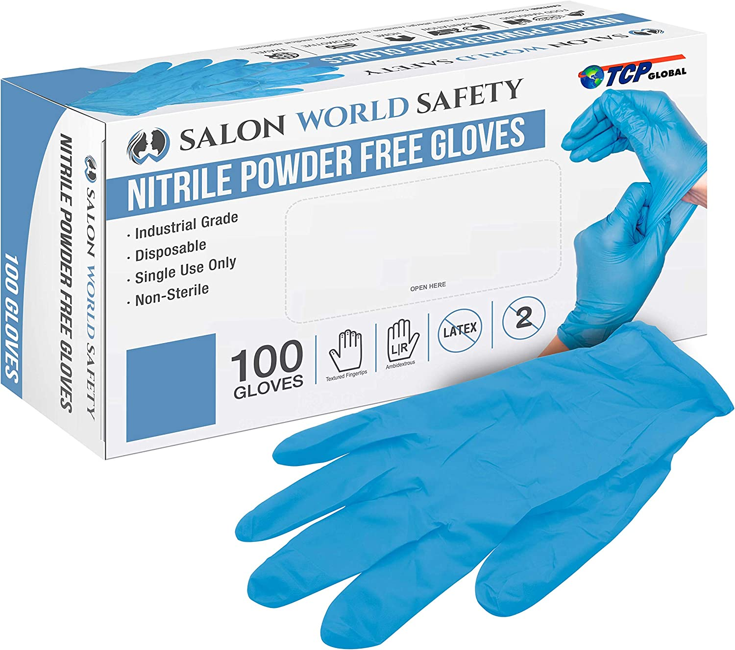 Salon World Safety Blue Nitrile Disposable Gloves, 3.5 Mil - Latex Free, Textured Tips, Food Safe