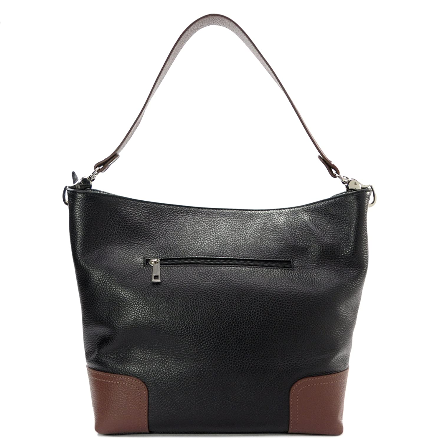 a9b0cd4214 Sabrina - Women s handbag genuine leather - Shoulder bag 100% Made in  Florence - Size 30-40x30x12 cm (LxHxL) - Mod.ZN.011-Black-Brown  Handbags   Amazon.com