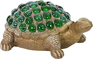 "Exhart Turtle Garden Statue w/Green Accents – Durable, Resin Turtle Art Statue – Cute, Rustic Design – Weather-Resistant Indoor & Outdoor Garden Décor for Lawn or Patio, (9.5"" x 7"" x 4.5"")"