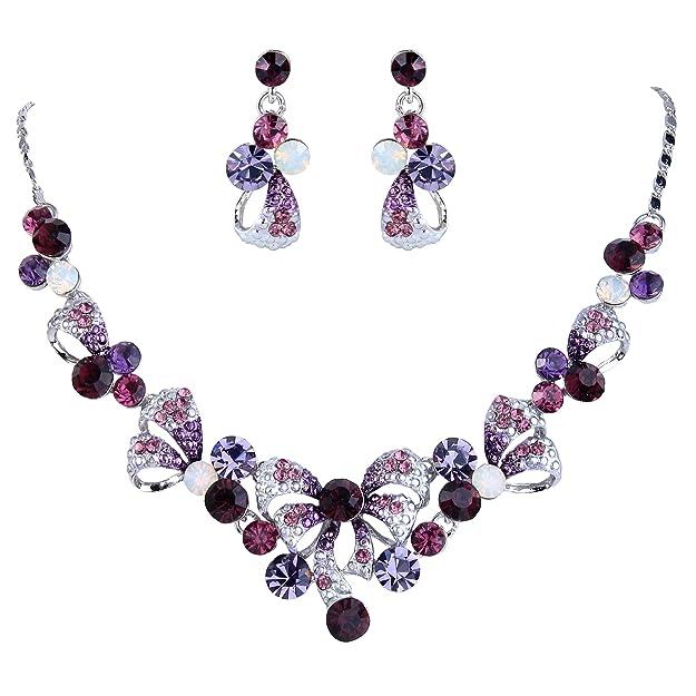Pack de pendientes elegante y collar de cristal austriaco, para fiesta.