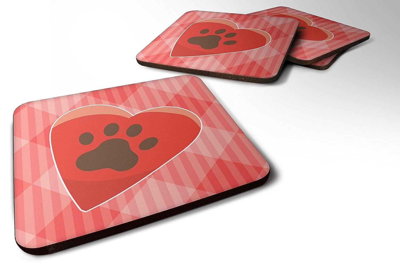 Caroline 's Treasures bb7073fc 4子犬PawprintハートFoamコースターのセットSet of 4、3 1 / 2 x 3 1 / 2、マルチカラー   B06ZY2VVJT