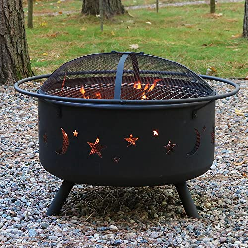 Sunnydaze Cosmic Outdoor Fire Pit – 30 Inch Round Bonfire Wood Burning Patio Backyard Firepit for Outside with Cooking BBQ Grill Grate, Spark Screen, and Fireplace Poker, Celestial Design