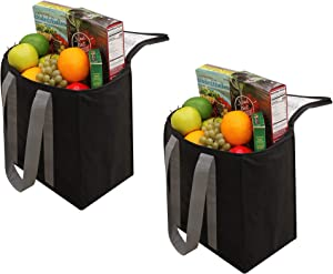 Insulated Reusable Grocery Bag Shopping Tote - Keeps Food Hot or Cold Large All Temperature Thermal Cooler Zipper Closure Lid Food Delivery and Catering (Pack of 2) (Black)