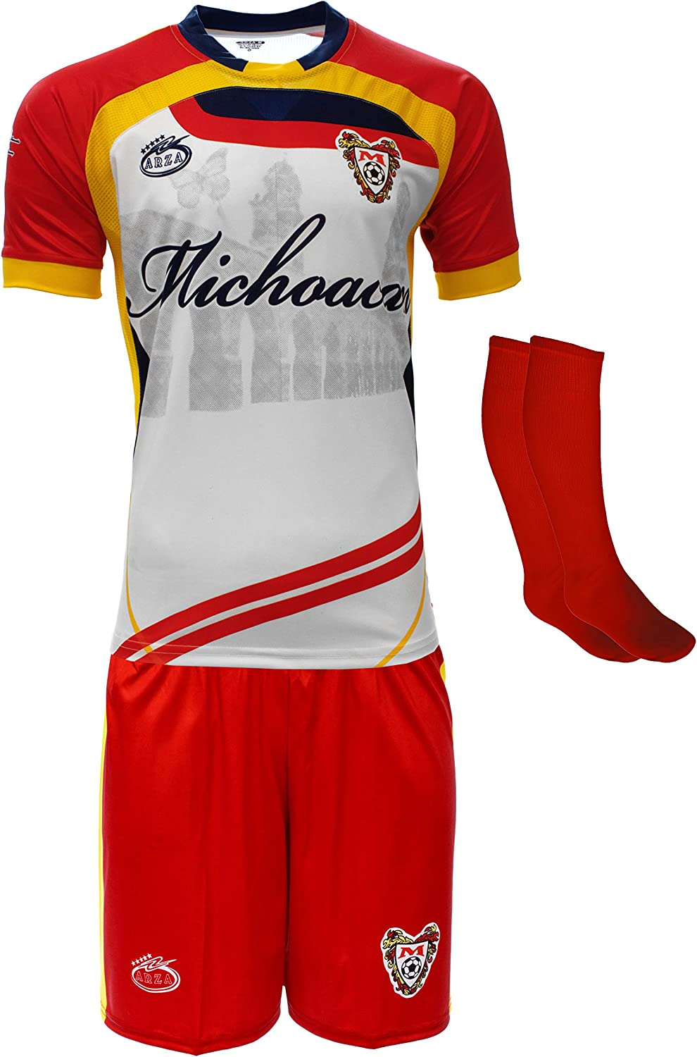 Arza Sport Michoacan Mexico Uniform Color White/Red Jersey,Short,Socks and Number