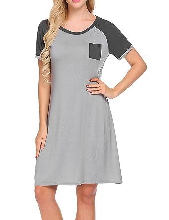 Unibelle Damen Nachthemd Kleid Nachtwäsche Nachtkleid Sleepwear Mit ...