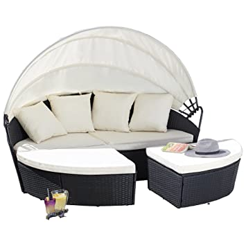 garden gear rattan daybed outdoor furniture set extendable canopy rh amazon co uk