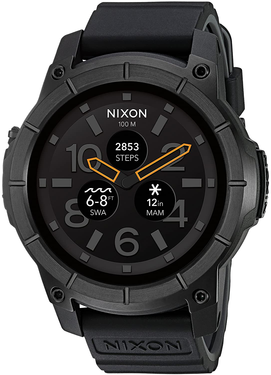 Nixon Mission Action Sports Smartwatch A1167. 10 ATM Water Resistant and Shock Resistant Mens Watch (48mm. Silicone Band)