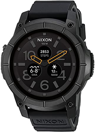 12dd878bfd6 Amazon.com  Nixon Mission Action Sports Smartwatch A1167001-00. All Black  Men s Watch (48mm. Black Face Black Silicone Band)  Nixon  Watches