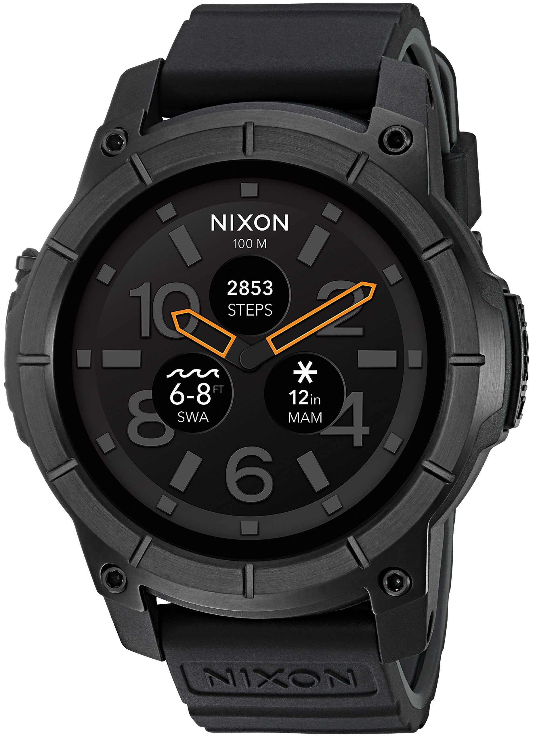 Nixon Mission Action Sports Smartwatch A1167001-00. All Black Men's Watch (48mm. Black Face/Black Silicone Band) by NIXON