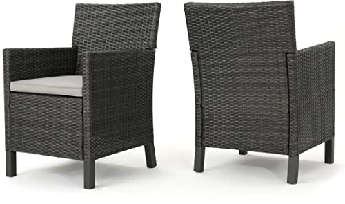 Christopher Knight Home Cypress Outdoor Wicker Dining Chairs with Water Resistant Cushions, 2-Pcs Set, Grey Light Grey Dark Grey