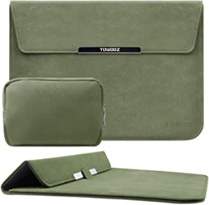 TOWOOZ 13.3 Inch Laptop Sleeve Case Compatible with MacBook Air/MacBook Pro 13-13.3 inch/iPad Pro/Surface Pro, Artificial Leather, Innovative Materials, Folding Type (13-13.3inch, Matcha Green)