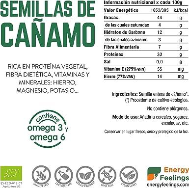 Energy Feelings Semilla de Cáñamo Ecológico, XXL - 3 unidades ...