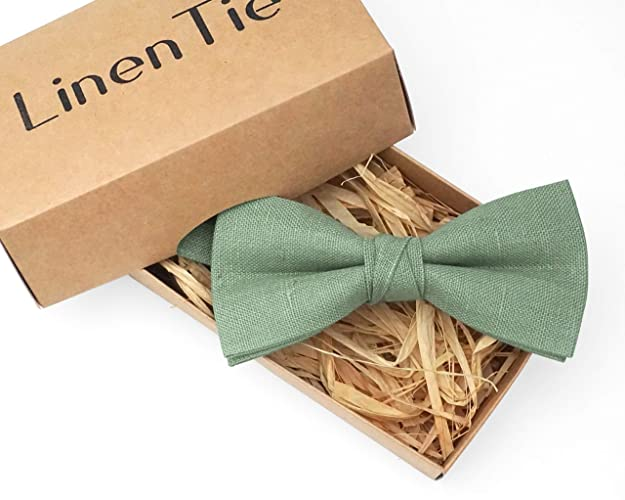 Amazoncom Sage Green Linen Pretied Wedding Bow Ties For