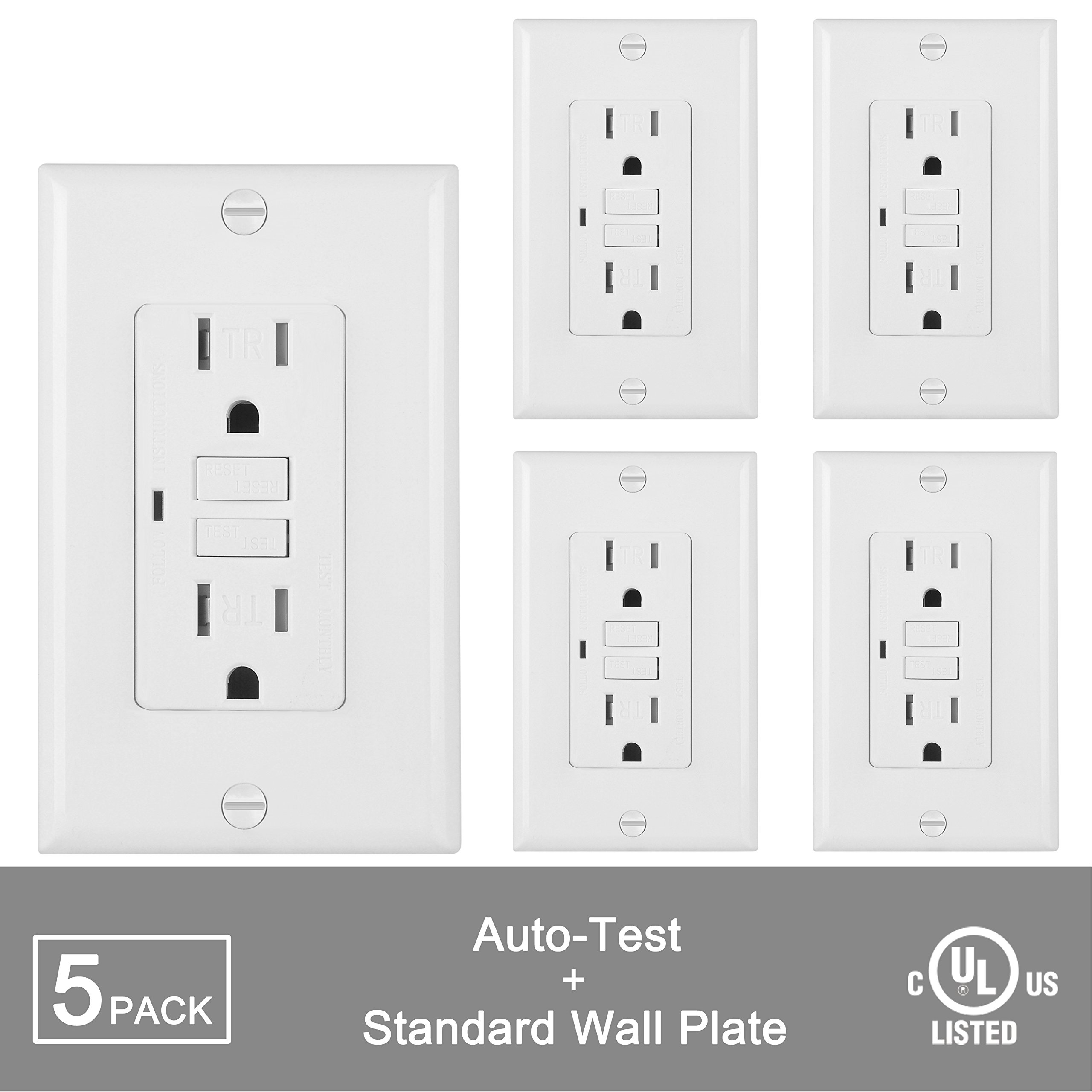 5 Pack Bestten Self Test Tamper Resistant Gfci Receptacle Outlet Groundfault Circuit Interrupter With Led Power
