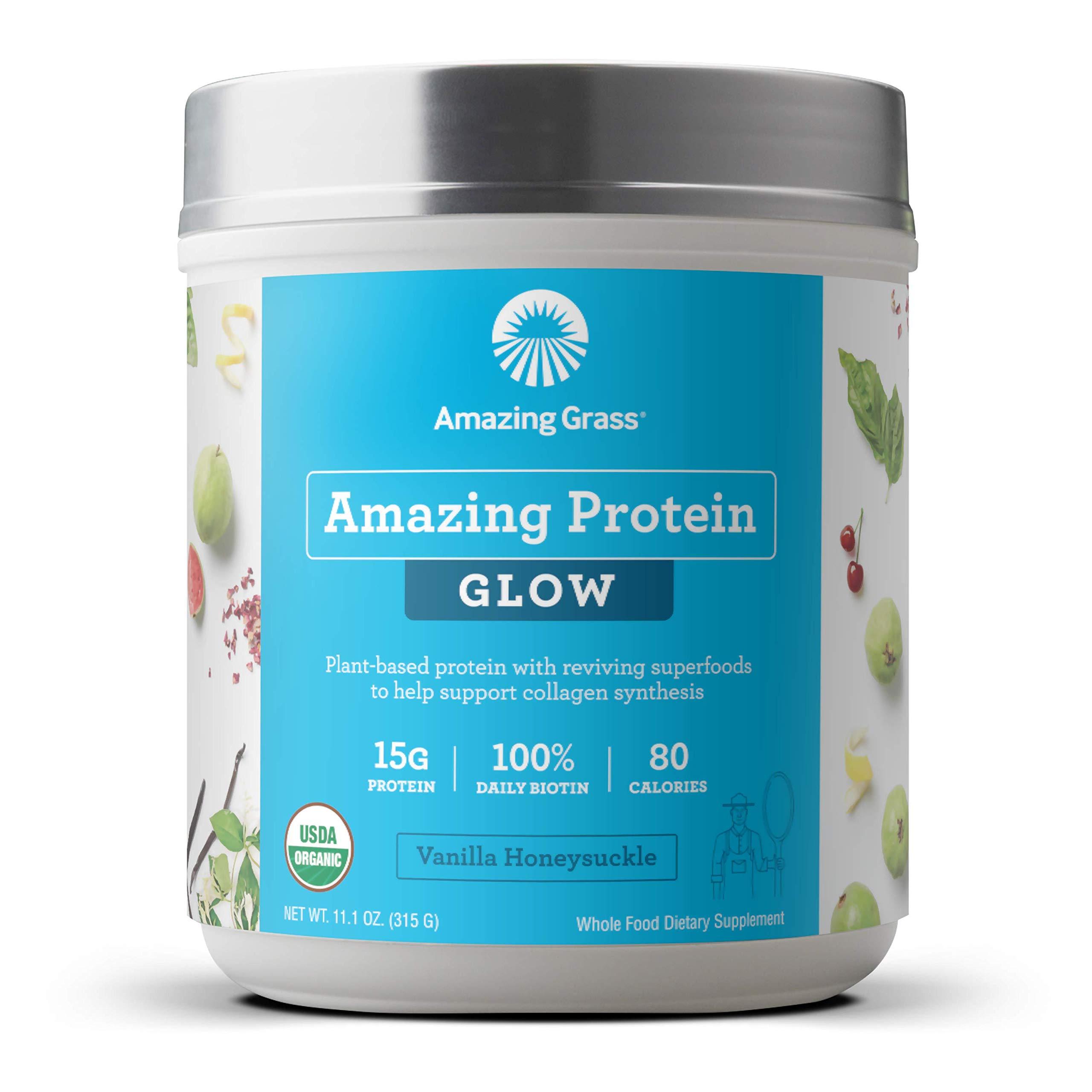 Amazing Grass GLOW Vegan Protein Powder: Organic Plant Based Collagen Support Protein Powder with Biotin Supplements, Vanilla Honeysuckle Flavor, 15 Servings by Amazing Grass