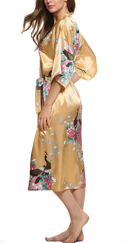 Avidlove Kimono Satin Robe de Chambre Femme Longue Fleur Chemise de Nuit Taille 38-50 M-XXL