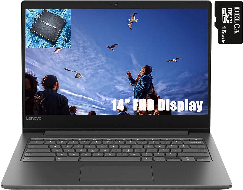 "Lenovo Chromebook S330 2020 Premium Laptop Computer I Quad-Core MediaTek MT8173C I 14"" FHD Display I 4GB RAM 64GB eMMC PowerVR GX6250 USB-C WiFi Webcam Chrome OS + Delca 16GB Micro SD Card"