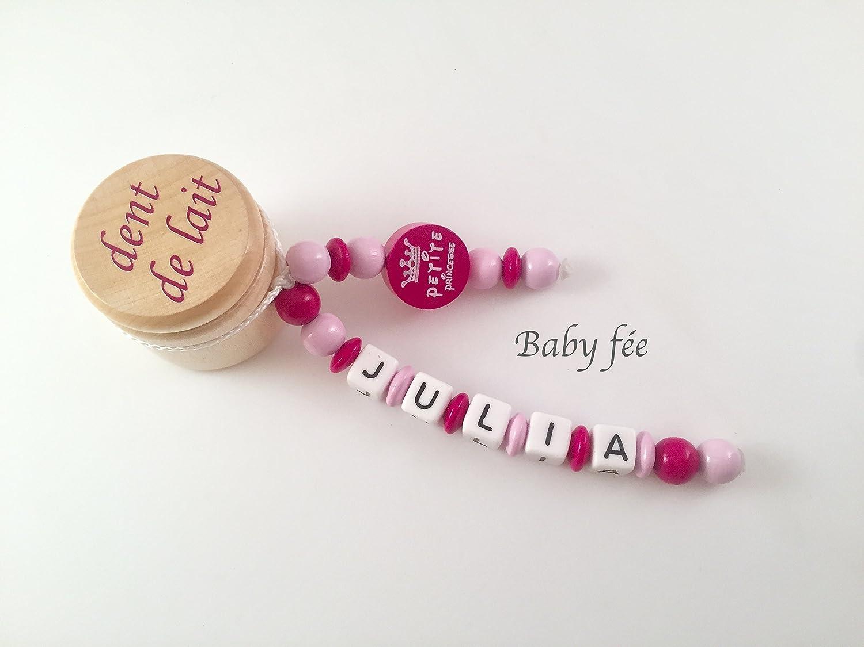 Boite à dents de lait personnalisée perles de bois fille petite princesse