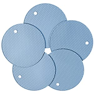 Gifts for Family, Friends, Silicone Pot Holder and Oven Mitts, Multipurpose Non-slip Insulation Honeycomb Rubber Hot Pads Trivet, Heat Resistant Antislip Place Mat, Pack of 5 (Light Blue)