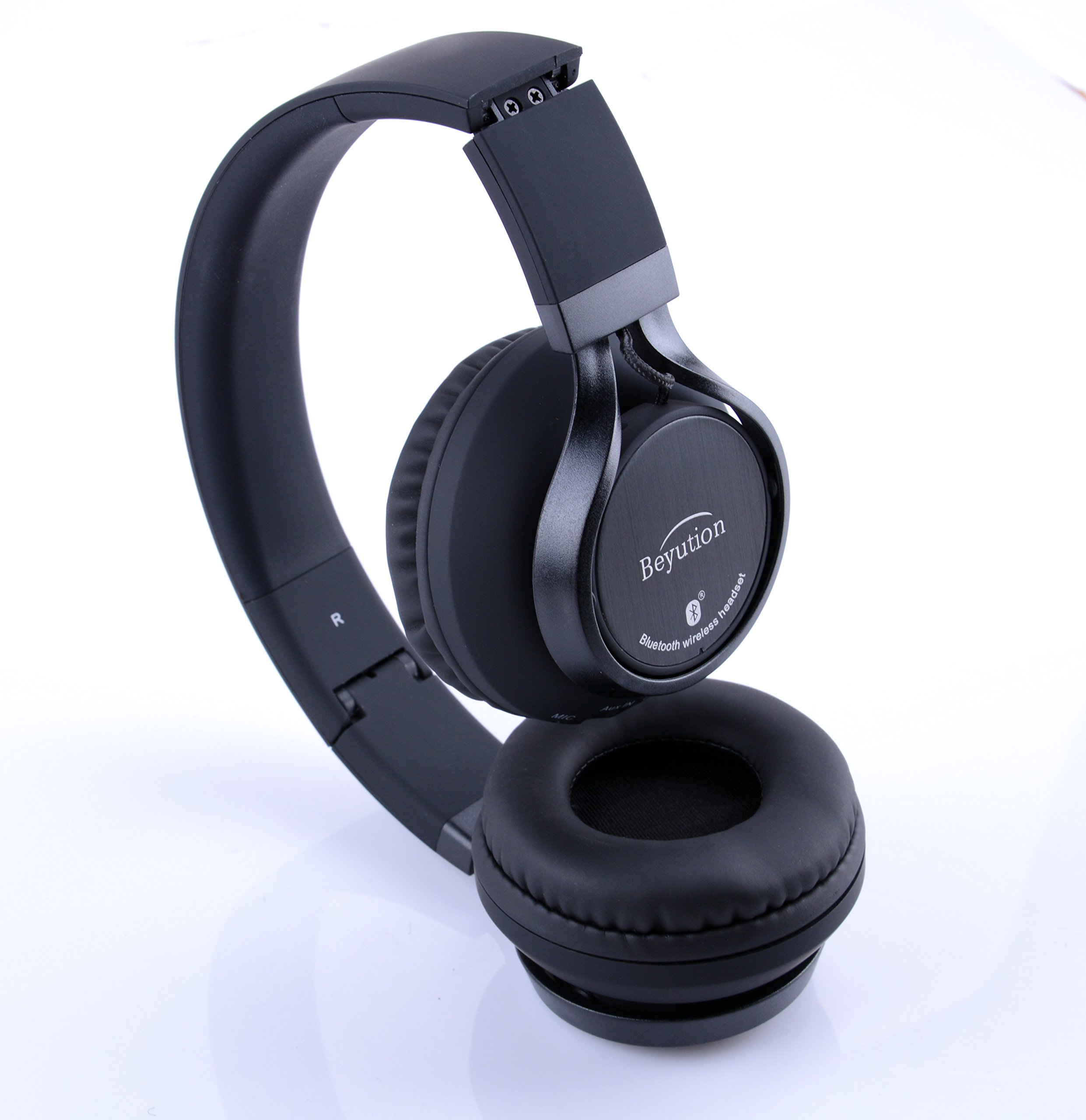 Beyution Black Metal Wireless Bluetooth Headsets Over Ear Bluetooth Headphones with Mic for iPhone 8 X Samsung Smart Phones and All Tablet Laptop with Bluetooth Funcstion (BT525-Black-Metal) by Beyution (Image #9)
