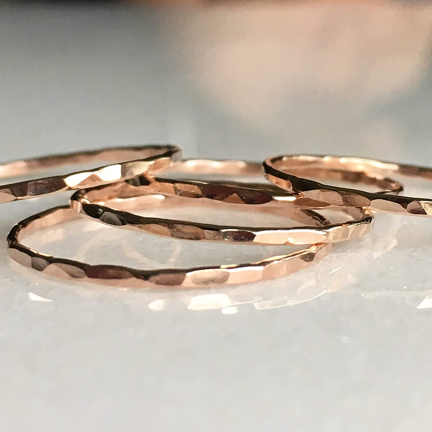 1 Stacking Ring Rose Gold, Dainty Little Plain Band, Handmade in Many Sizes